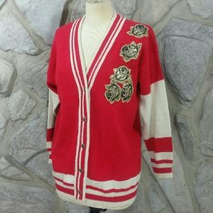 Vintage Varsity Style Cardigan with Gold Roses